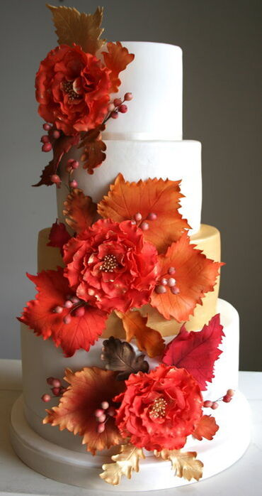 Autumn Leaves Wedding Cake