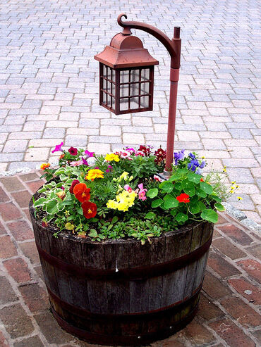 Half a wine Barrell with flowers