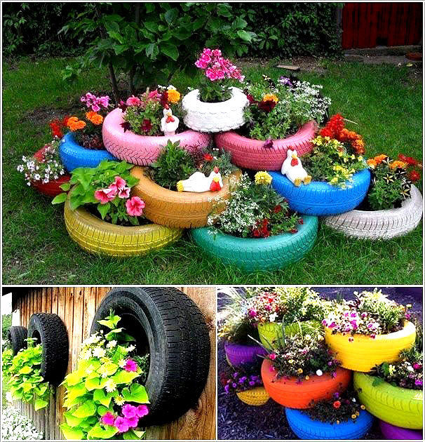 Old Tires as Decoration