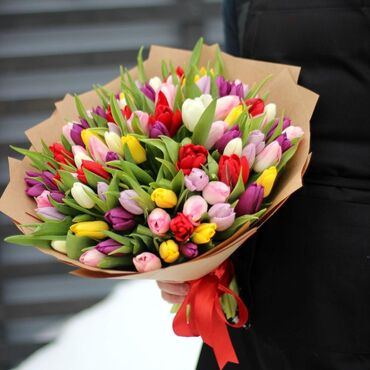 Beautiful bouquet colorful tulips
